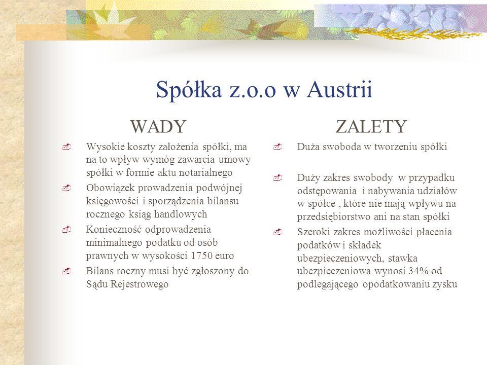Spółka z.o.o w Austrii WADY ZALETY