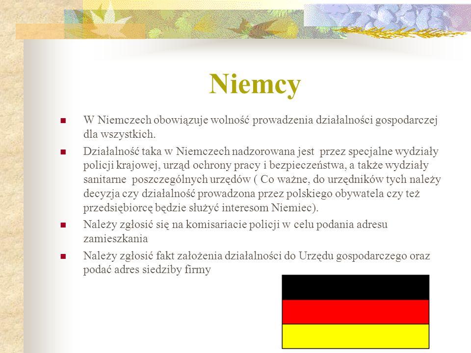 Niemcy W Niemczech obowiązuje wolność prowadzenia działalności gospodarczej dla wszystkich.