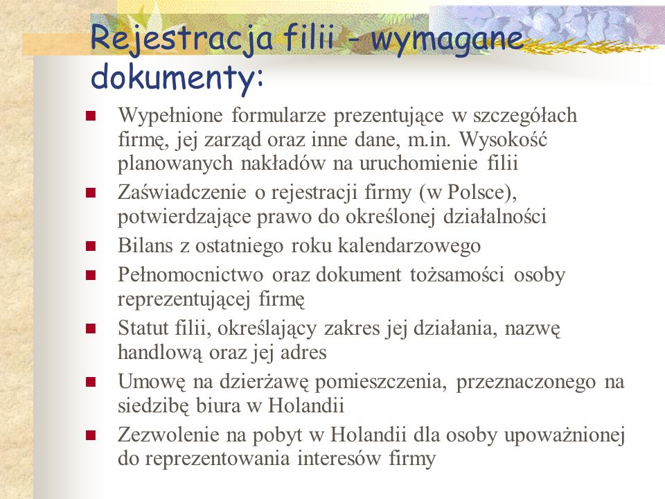 Rejestracja filii - wymagane dokumenty: