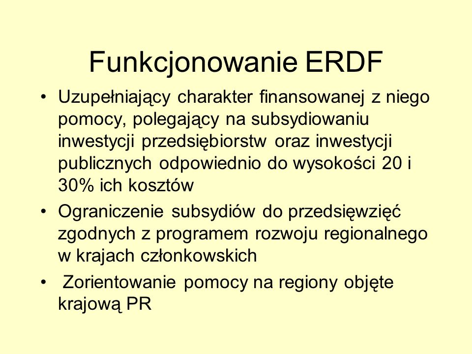 Funkcjonowanie ERDF