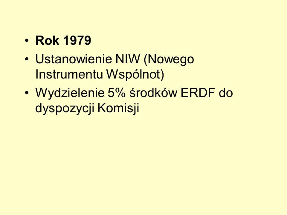 Rok 1979 Ustanowienie NIW (Nowego Instrumentu Wspólnot) Wydzielenie 5% środków ERDF do dyspozycji Komisji.