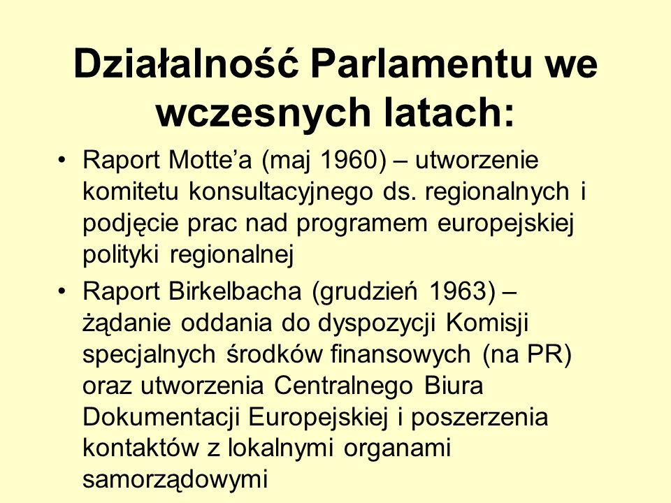 Działalność Parlamentu we wczesnych latach: