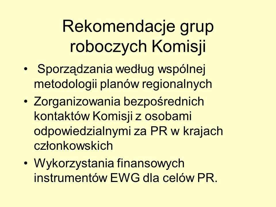 Rekomendacje grup roboczych Komisji