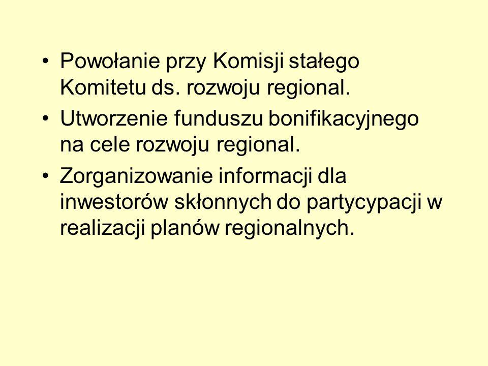 Powołanie przy Komisji stałego Komitetu ds. rozwoju regional.