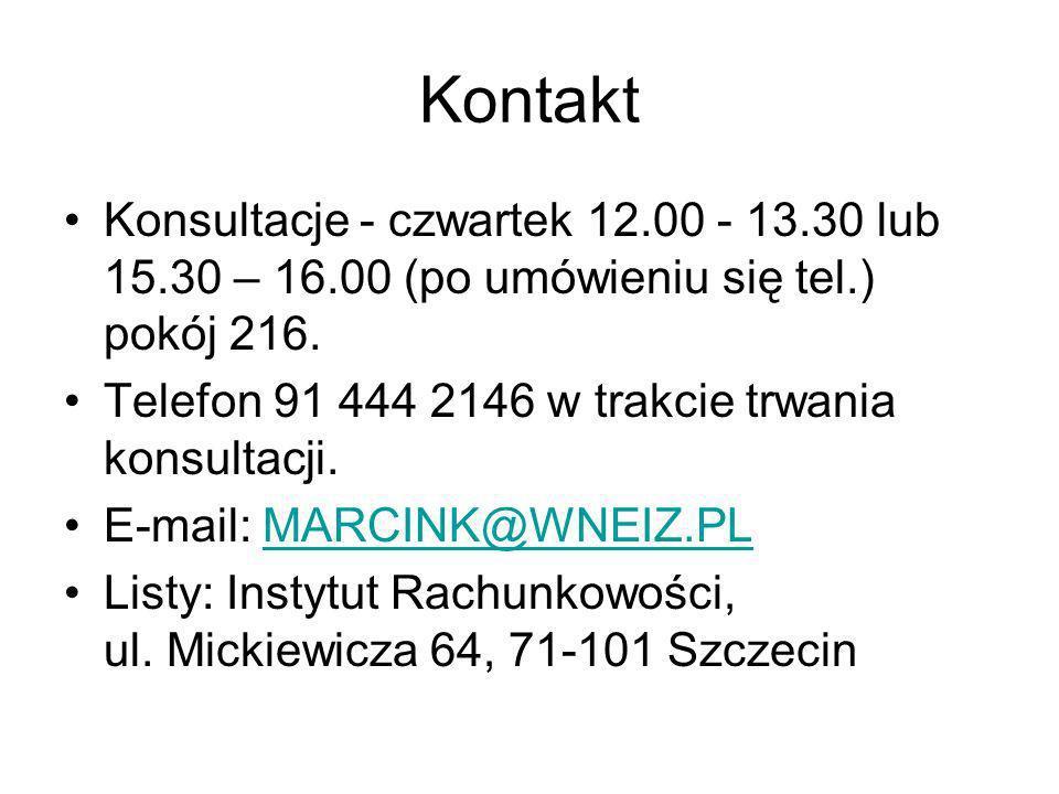 Kontakt Konsultacje - czwartek 12.00 - 13.30 lub 15.30 – 16.00 (po umówieniu się tel.) pokój 216. Telefon 91 444 2146 w trakcie trwania konsultacji.