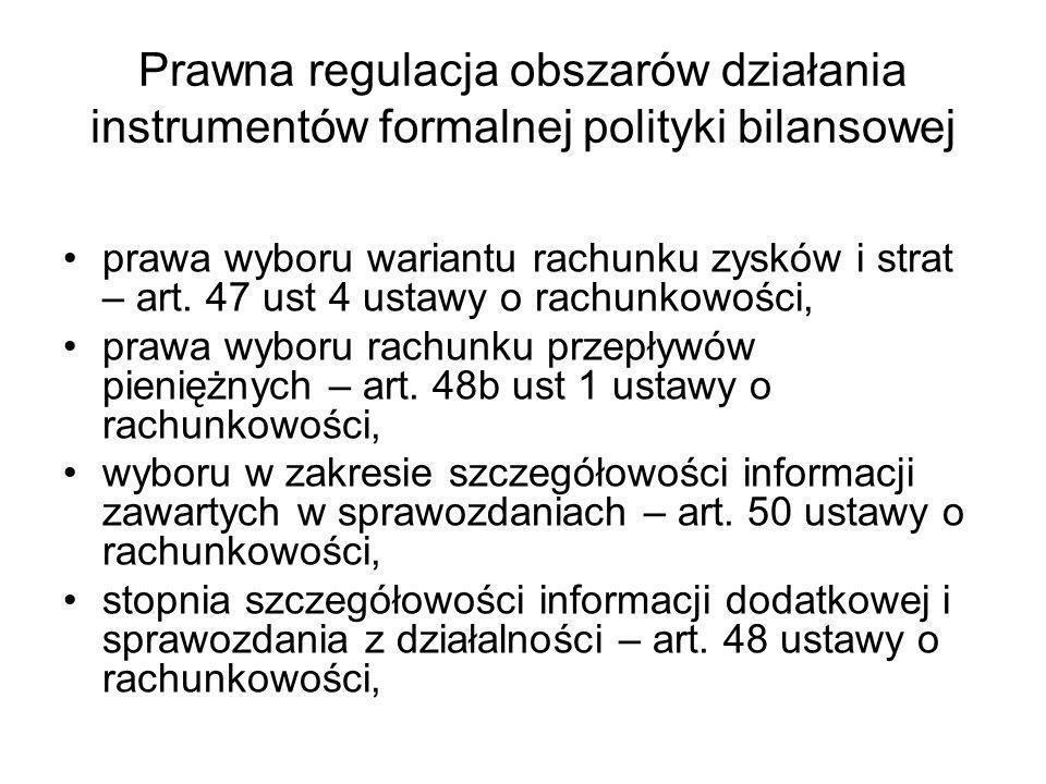 Prawna regulacja obszarów działania instrumentów formalnej polityki bilansowej