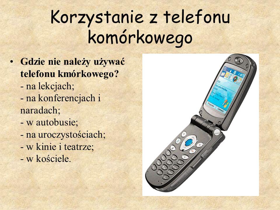 Korzystanie z telefonu komórkowego