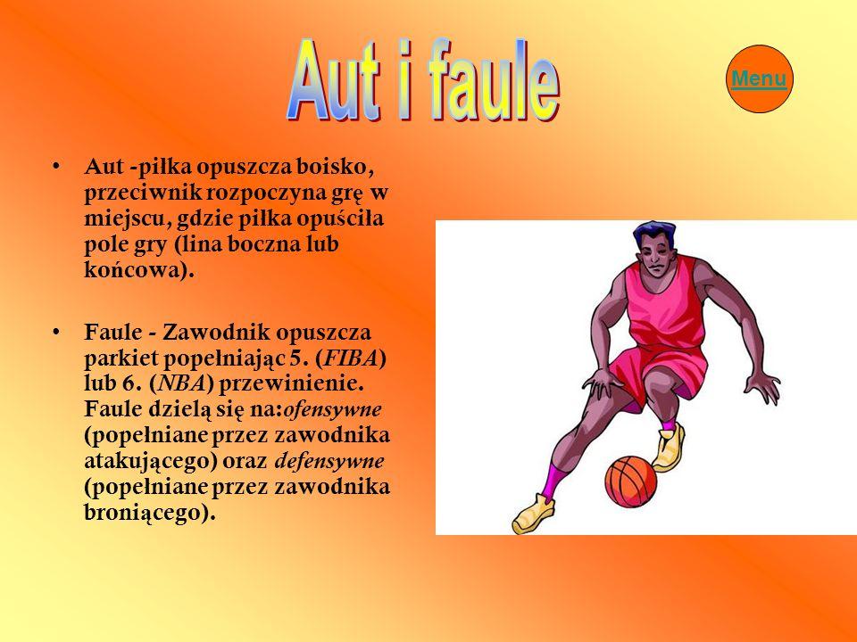 Aut i fauleMenu. Aut -piłka opuszcza boisko, przeciwnik rozpoczyna grę w miejscu, gdzie piłka opuściła pole gry (lina boczna lub końcowa).