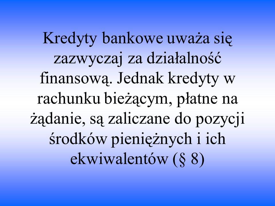 Kredyty bankowe uważa się zazwyczaj za działalność finansową