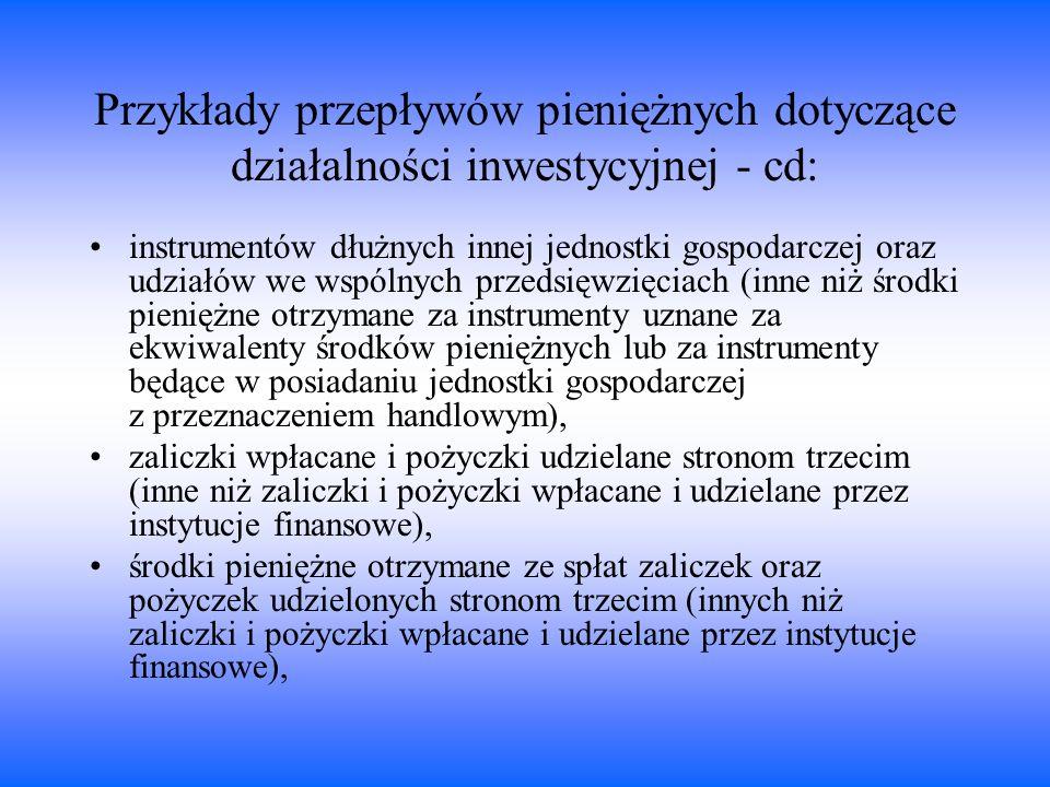 Przykłady przepływów pieniężnych dotyczące działalności inwestycyjnej - cd: