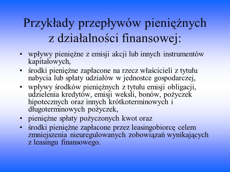 Przykłady przepływów pieniężnych z działalności finansowej: