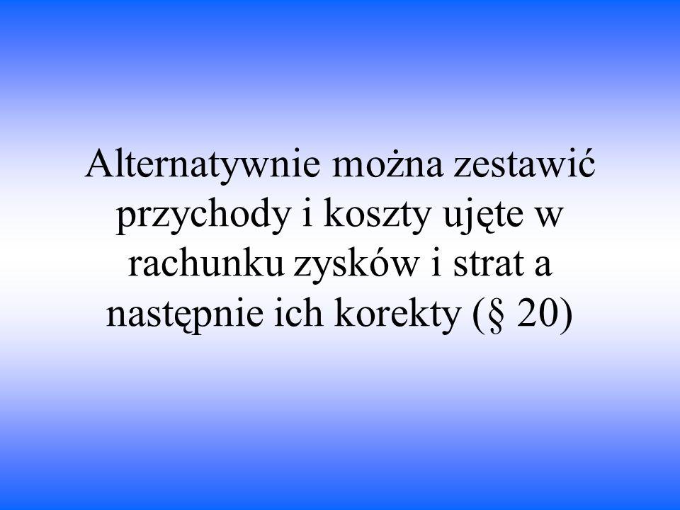 Alternatywnie można zestawić przychody i koszty ujęte w rachunku zysków i strat a następnie ich korekty (§ 20)