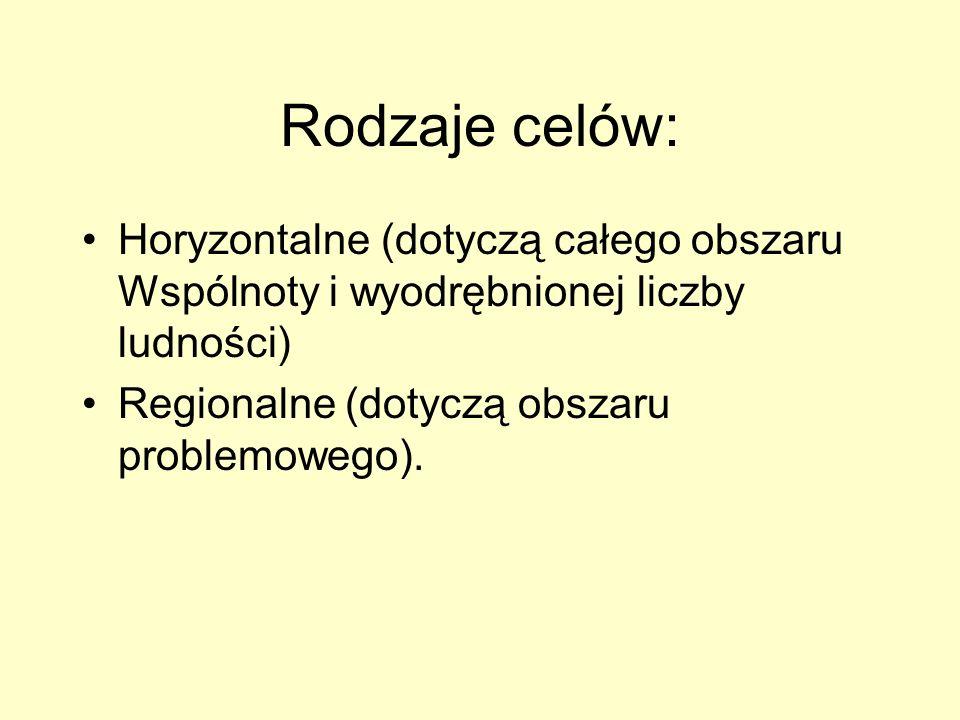 Rodzaje celów: Horyzontalne (dotyczą całego obszaru Wspólnoty i wyodrębnionej liczby ludności) Regionalne (dotyczą obszaru problemowego).