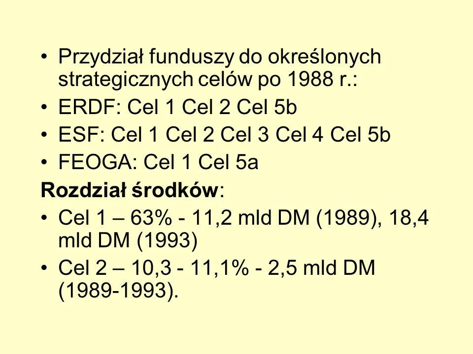 Przydział funduszy do określonych strategicznych celów po 1988 r.: