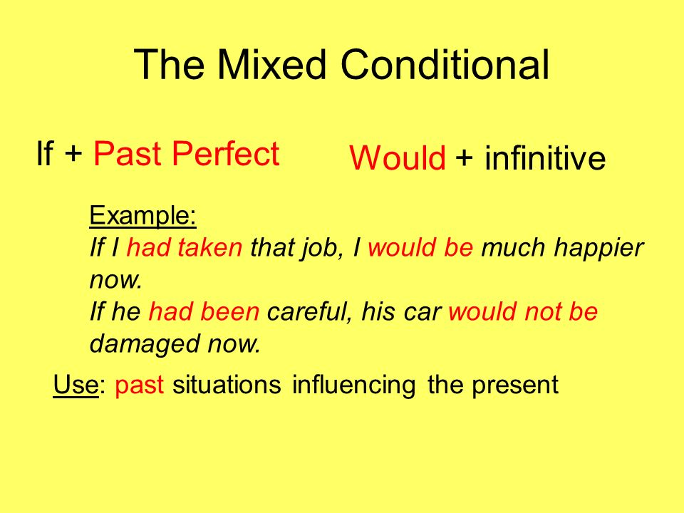 The Mixed Conditional If + Past Perfect Would + infinitive Example:
