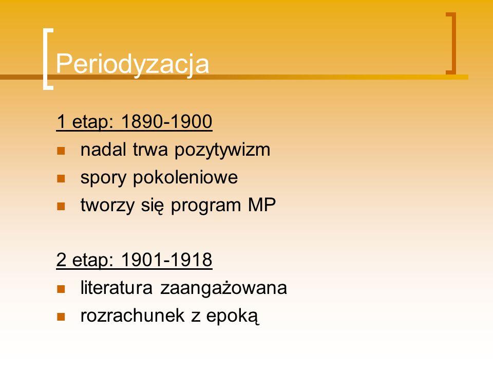 Periodyzacja 1 etap: 1890-1900 nadal trwa pozytywizm spory pokoleniowe