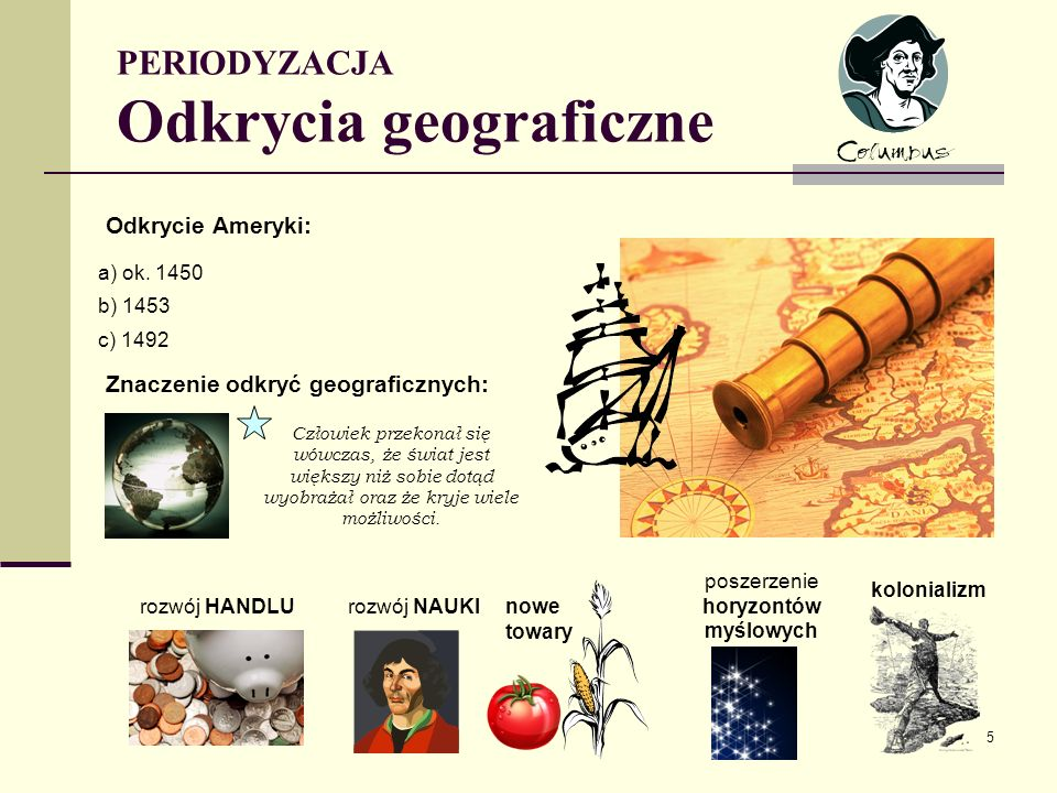 PERIODYZACJA Odkrycia geograficzne