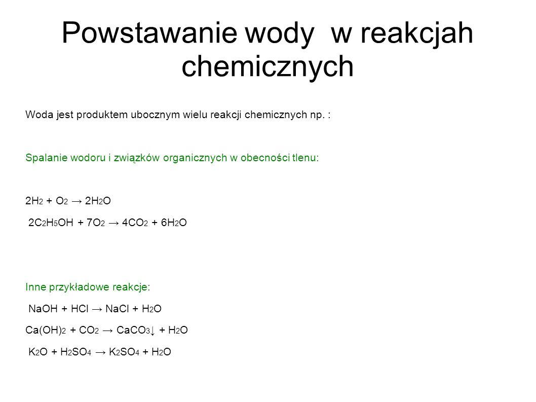 Powstawanie wody w reakcjah chemicznych