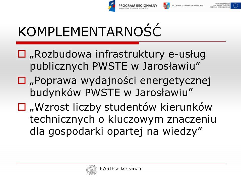 """KOMPLEMENTARNOŚĆ""""Rozbudowa infrastruktury e-usług publicznych PWSTE w Jarosławiu """"Poprawa wydajności energetycznej budynków PWSTE w Jarosławiu"""