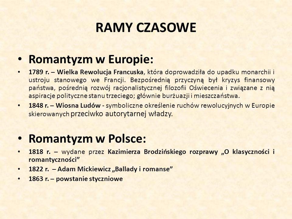 RAMY CZASOWE Romantyzm w Europie: Romantyzm w Polsce: