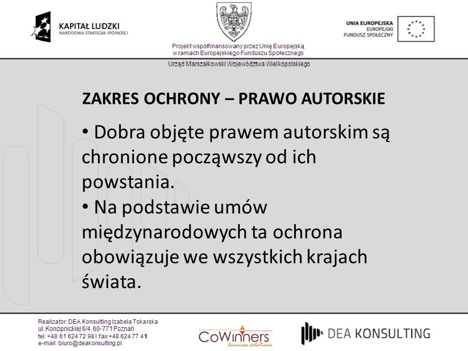 ZAKRES OCHRONY – PRAWO AUTORSKIE