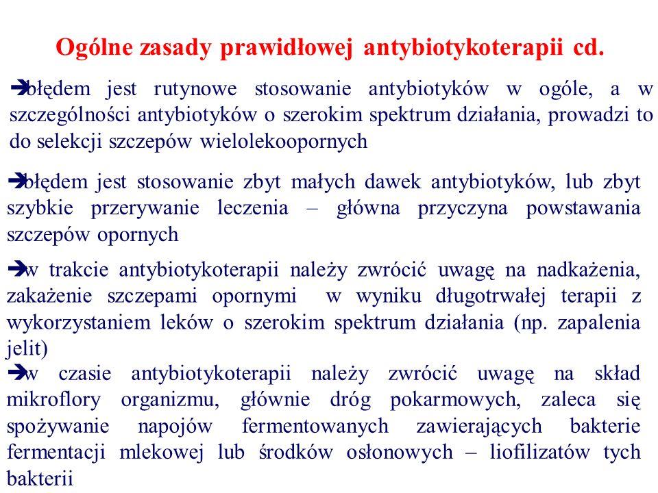 Ogólne zasady prawidłowej antybiotykoterapii cd.