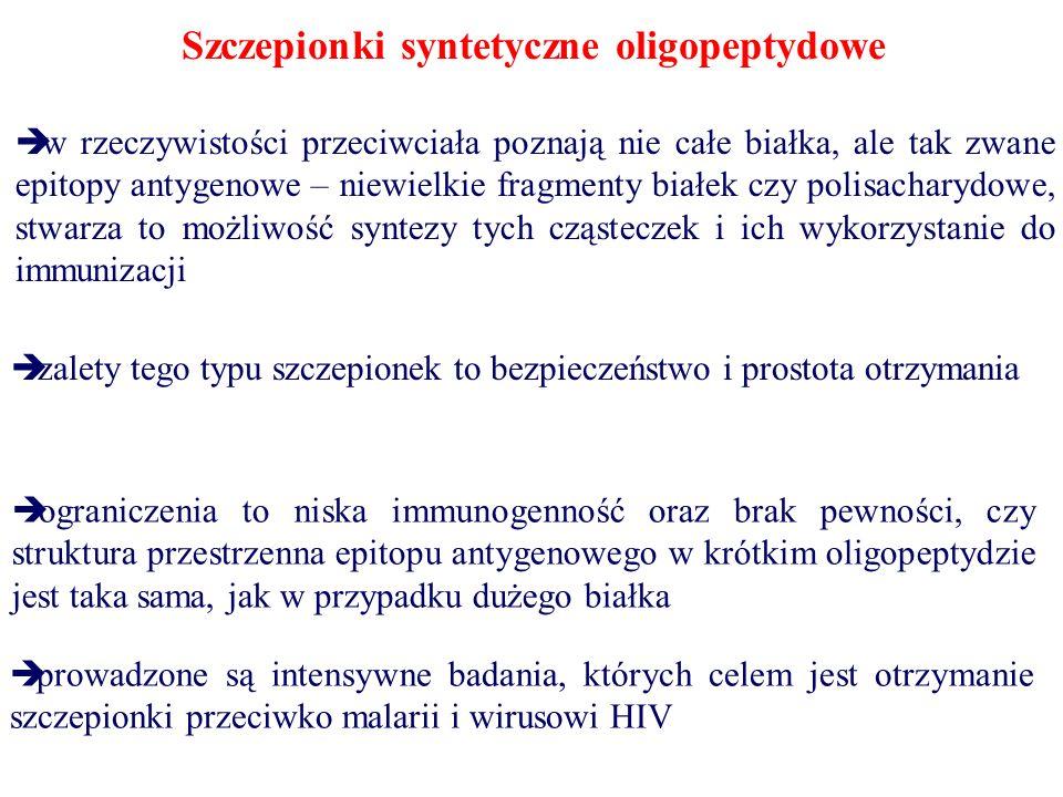 Szczepionki syntetyczne oligopeptydowe