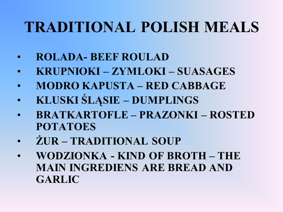 TRADITIONAL POLISH MEALS