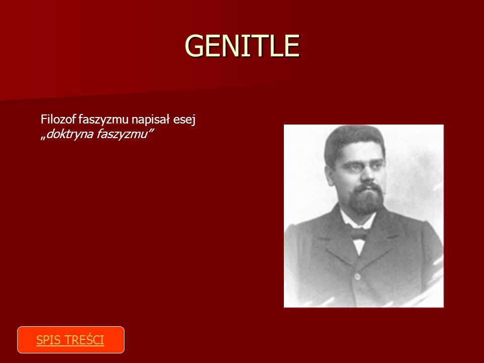 """GENITLE Filozof faszyzmu napisał esej """"doktryna faszyzmu SPIS TREŚCI"""