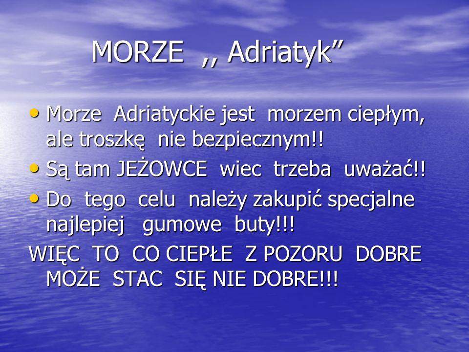 MORZE ,, Adriatyk Morze Adriatyckie jest morzem ciepłym, ale troszkę nie bezpiecznym!! Są tam JEŻOWCE wiec trzeba uważać!!