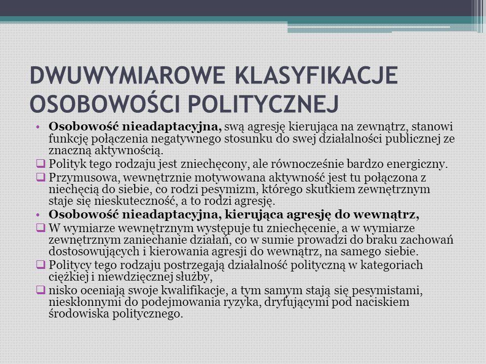 DWUWYMIAROWE KLASYFIKACJE OSOBOWOŚCI POLITYCZNEJ