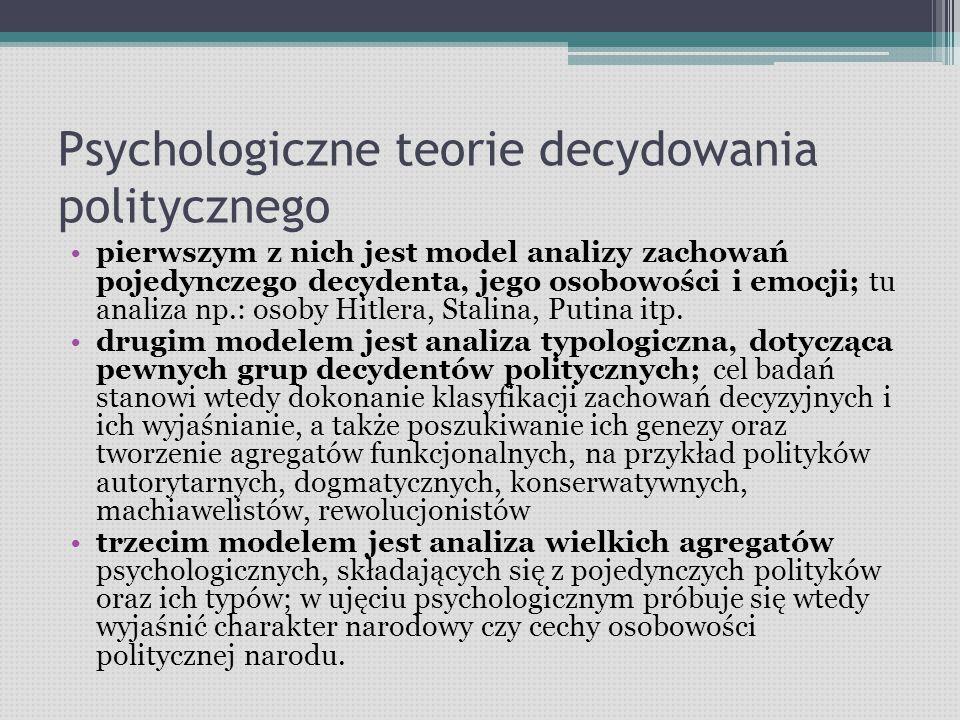 Psychologiczne teorie decydowania politycznego