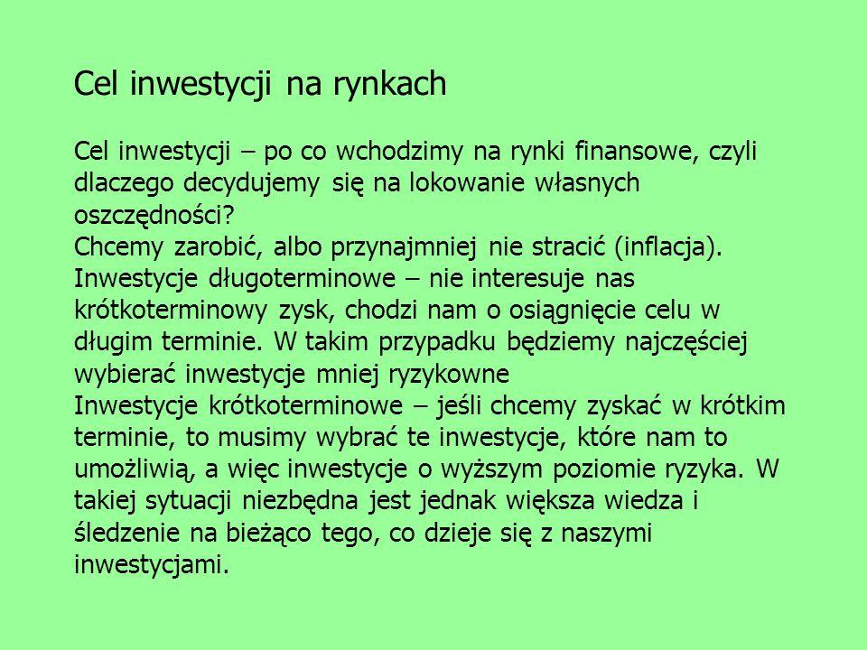 Cel inwestycji na rynkach Cel inwestycji – po co wchodzimy na rynki finansowe, czyli dlaczego decydujemy się na lokowanie własnych oszczędności.