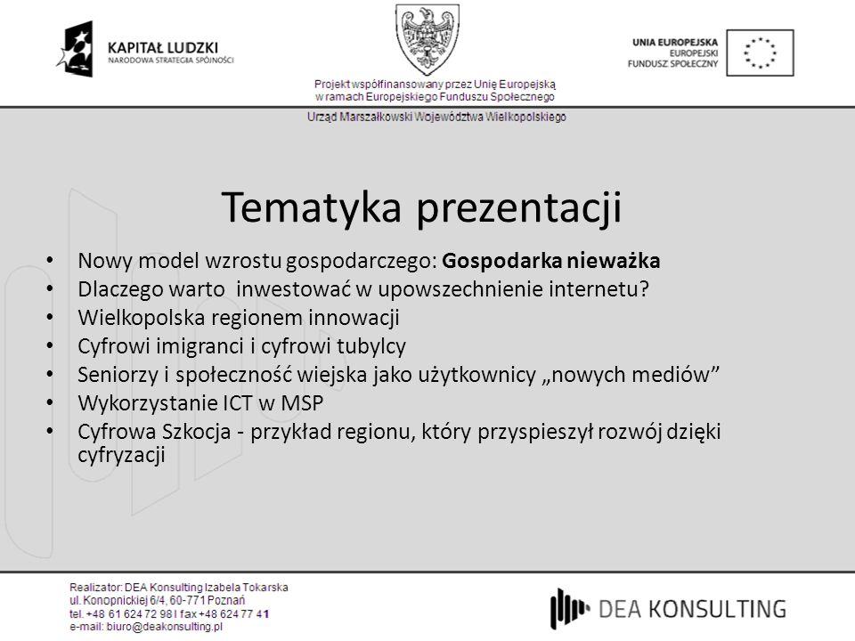 Tematyka prezentacji Nowy model wzrostu gospodarczego: Gospodarka nieważka. Dlaczego warto inwestować w upowszechnienie internetu