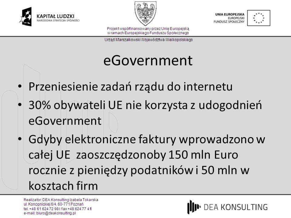 eGovernment Przeniesienie zadań rządu do internetu