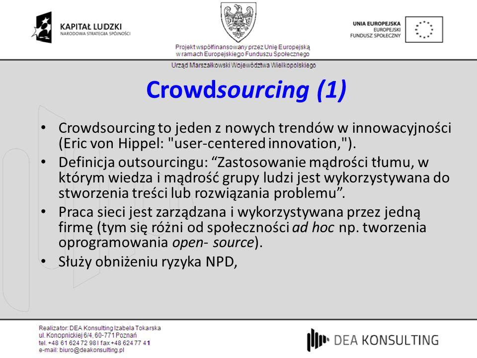 Crowdsourcing (1) Crowdsourcing to jeden z nowych trendów w innowacyjności (Eric von Hippel: user-centered innovation, ).