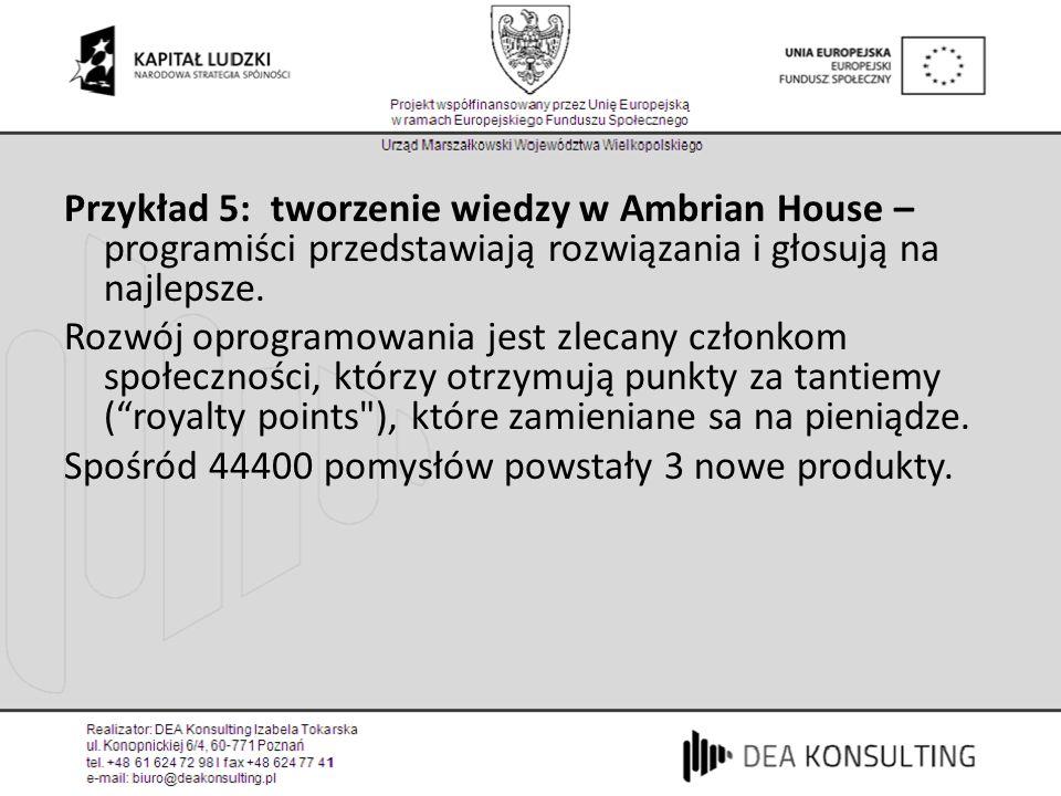 Przykład 5: tworzenie wiedzy w Ambrian House – programiści przedstawiają rozwiązania i głosują na najlepsze.