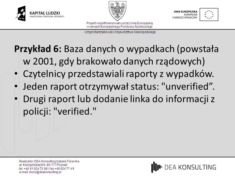 Przykład 6: Baza danych o wypadkach (powstała w 2001, gdy brakowało danych rządowych)