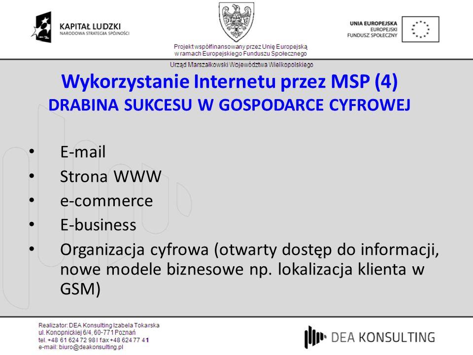 Wykorzystanie Internetu przez MSP (4) DRABINA SUKCESU W GOSPODARCE CYFROWEJ