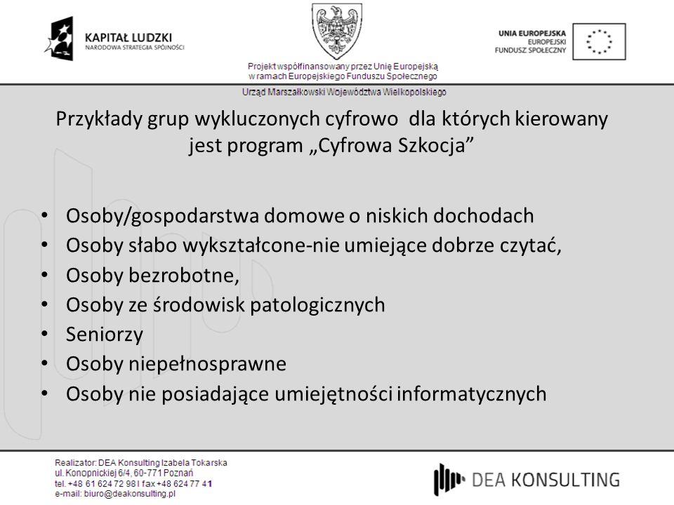 """Przykłady grup wykluczonych cyfrowo dla których kierowany jest program """"Cyfrowa Szkocja"""