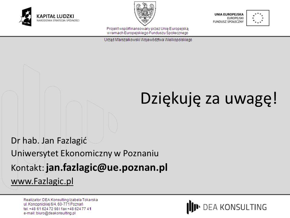 Dziękuję za uwagę! Dr hab. Jan Fazlagić