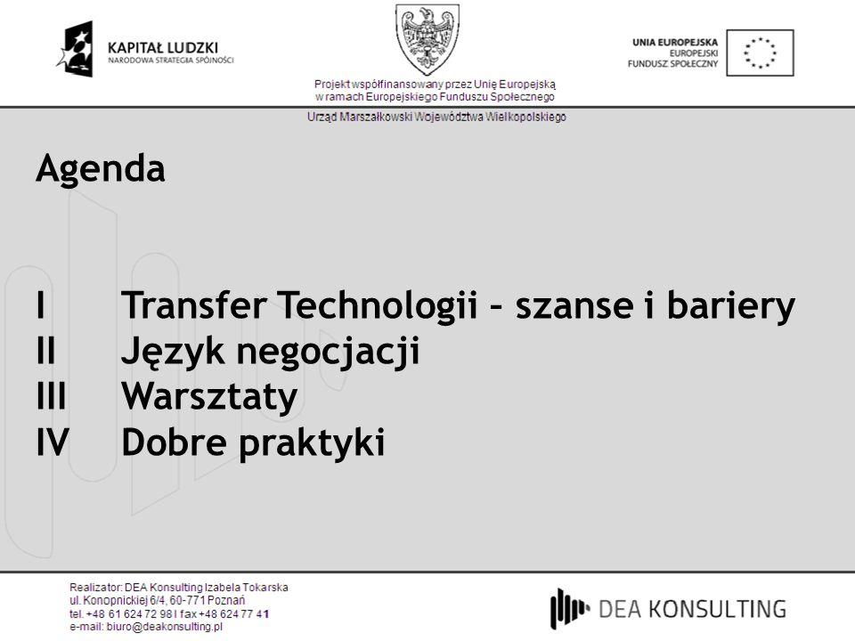 Agenda I Transfer Technologii – szanse i bariery.