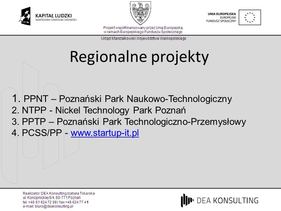 Regionalne projekty 1. PPNT – Poznański Park Naukowo-Technologiczny
