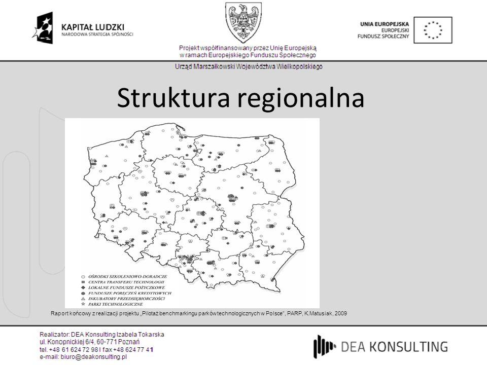 """Struktura regionalna Raport końcowy z realizacji projektu """"Pilotaż benchmarkingu parków technologicznych w Polsce , PARP, K.Matusiak, 2009."""