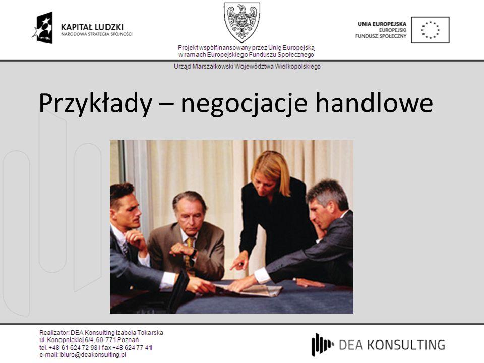 Przykłady – negocjacje handlowe