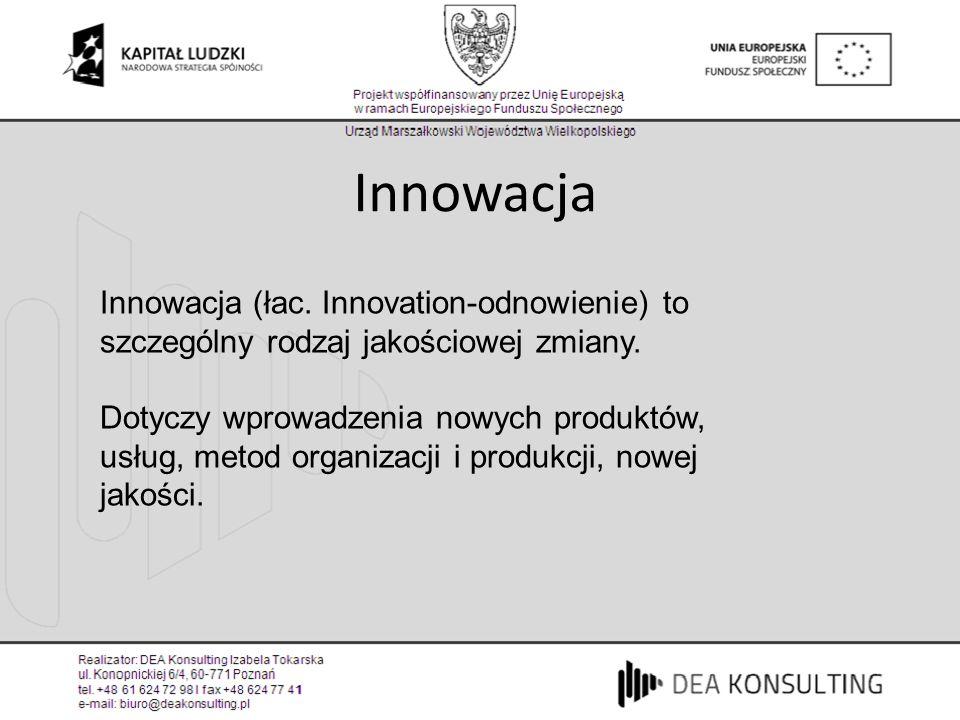 Innowacja Innowacja (łac. Innovation-odnowienie) to szczególny rodzaj jakościowej zmiany.