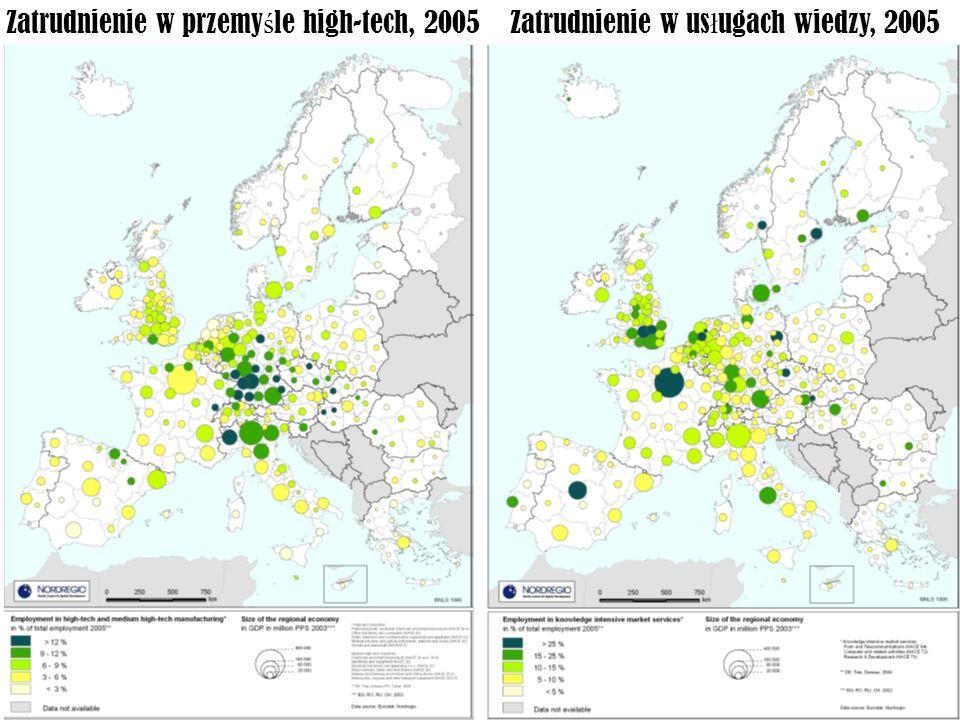 Zatrudnienie w przemyśle high-tech, 2005 Zatrudnienie w usługach wiedzy, 2005