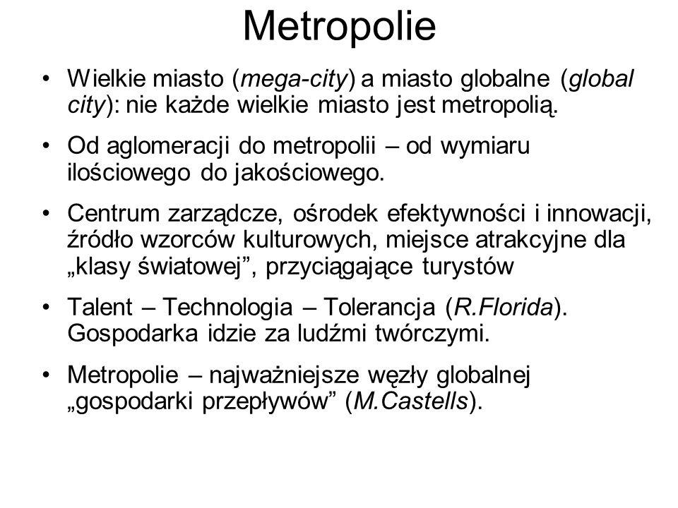 Metropolie Wielkie miasto (mega-city) a miasto globalne (global city): nie każde wielkie miasto jest metropolią.