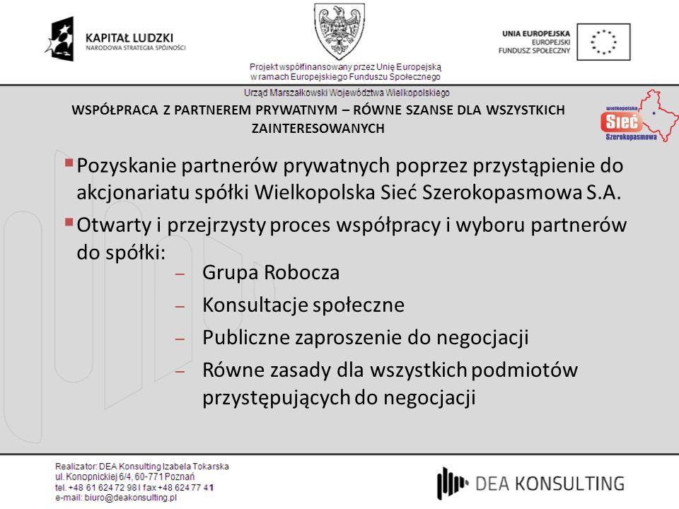 Otwarty i przejrzysty proces współpracy i wyboru partnerów do spółki: