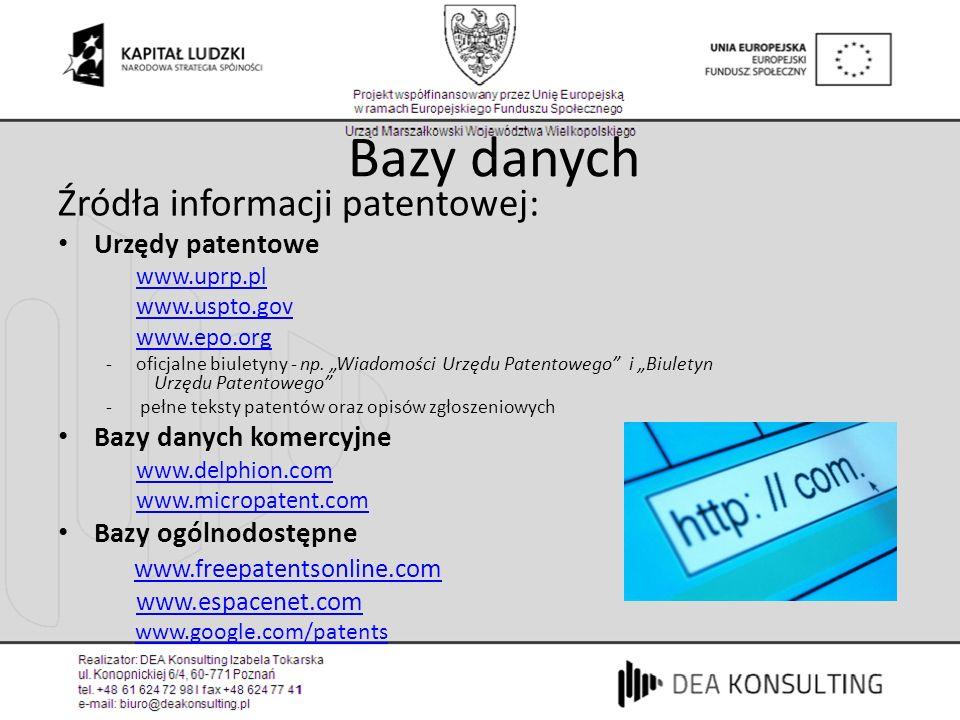 Bazy danych Źródła informacji patentowej: Urzędy patentowe